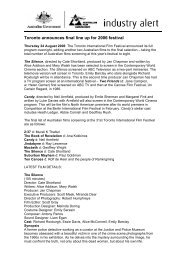 Toronto announces final line up for 2006 festival - Former AFC - Home