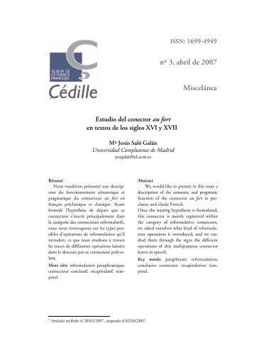 nº 3, abril de 2007 Miscelánea - Çédille. Revista de estudios franceses