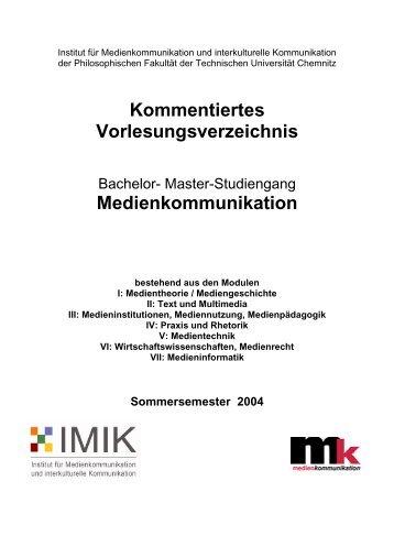 Kommentiertes Vorlesungsverzeichnis - Medienkommunikation - TU ...