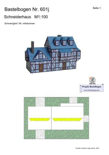 Bastelbogen 601j Schneiderhaus - Projekt Bastelbogen