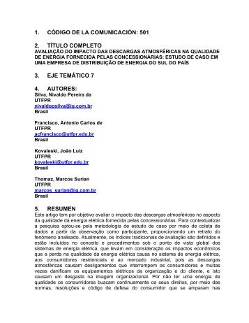 avaliação do impacto das descargas atmosfericas ... - Comunidades