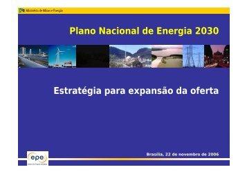 Plano Nacional de Energia 2030 Estratégia para expansão da oferta ...