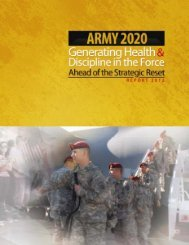 Army 2020: Generating Health & Discipline in the