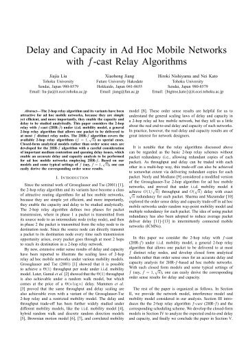 Delay and Capacity in Ad Hoc Mobile Networks with f-cast Relay ...