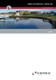 TARIFA DE PRECIOS | PRICE LIST 2012 - Cepex