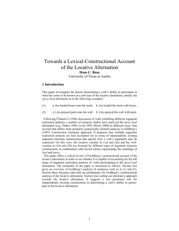 Towards a lexical-constructional account of the locative alternation