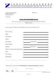 Antrag auf BU-Rente - Versorgungswerk der Zahnärztekammer Berlin