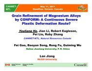 Grain Refinement of Magnesium Alloys by CONFORM - Course Notes