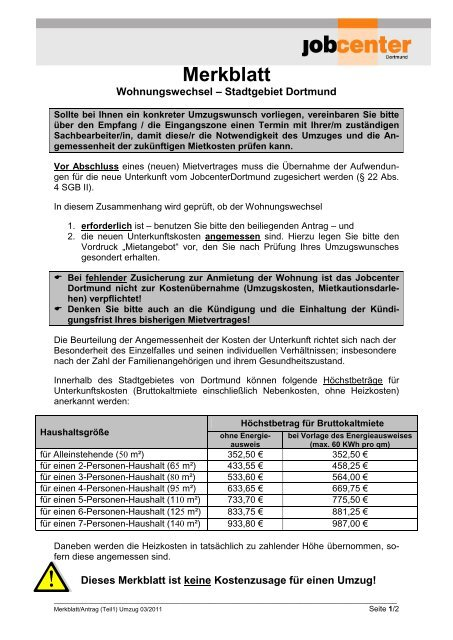 Merkblatt Und Antrag Auf Umzug Jobcenter Dortmund