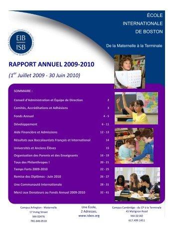 Rapport Annuel -2009-2010 - FR.pub - International School of Boston
