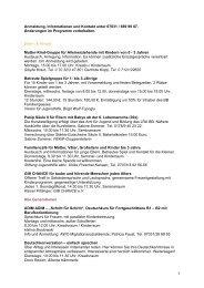 1 Anmeldung, Informationen und Kontakt unter 07031 / 669 99 07 ...