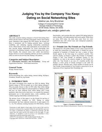 dating on social networks