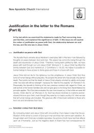Justification in the letter to the Romans (Part II)