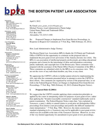 the boston patent law association - United States Patent and ...