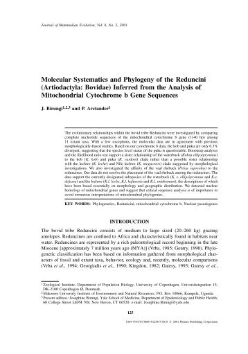 Molecular Systematics and Phylogeny of the ... - IngentaConnect