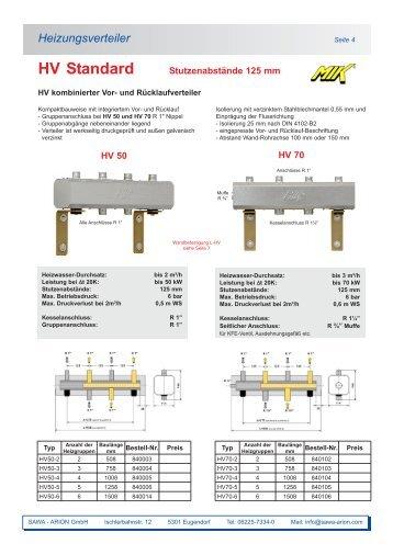 Heizungsverteiler - Sawa Arion Werksvertretung GmbH