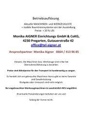 Betriebsauflösung Monika AIGNER Einrichtungs GmbH & CoKG ...
