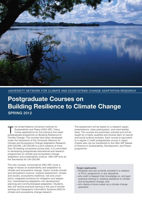 Postgraduate Courses on Building Resilience to Climate Change