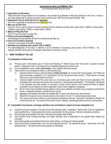 Instructions for filling out FORM No. ITR-7 (to be detached before ...