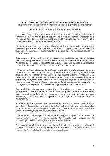 1 LA RIFORMA LITURGICA SECONDO IL CONCILIO VATICANO II ...