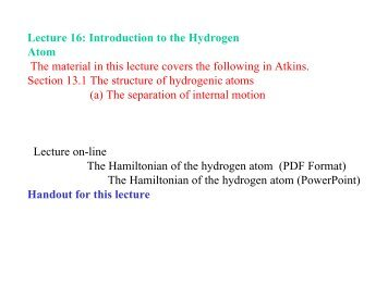 The Hamiltonian of the hydrogenic atom - Cobalt