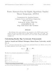 Poster Abstracts from the Eighth Algorithmic Number ... - SIGSAM