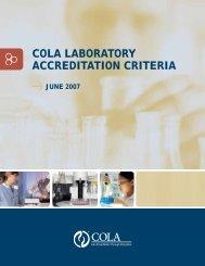 COLA LABORATORY ACCREDITATION CRITERIA
