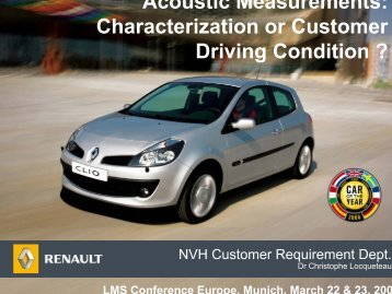 Acoustic Measurements: Characterization or Customer Driving ...