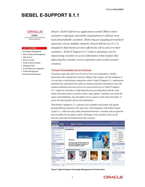 Siebel E-Support 8 1 1 - Oracle