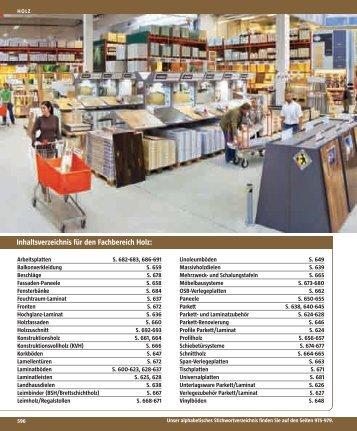 Inhaltsverzeichnis für den Fachbereich Holz: - Bauhaus