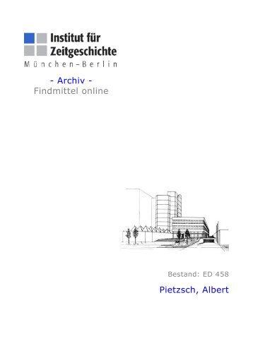 - Archiv - Findmittel online Pietzsch, Albert - Institut für Zeitgeschichte