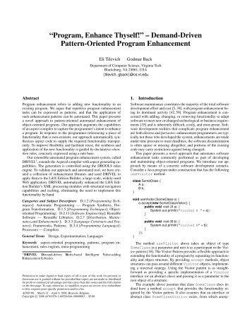 Program, Enhance Thyself! - Computer Science at Virginia Tech