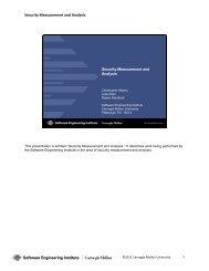 Security Measurement and Analysis - CERT Coordination Center