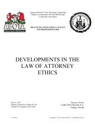 developments in the law of attorney ethics - Hillsborough County Bar ...