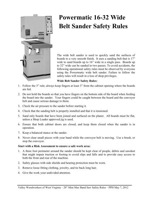Safety Rules Valley Woodworkers