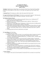 St. Stephen the Martyr Board of Education Minutes April 19, 2011