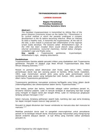 Trypanosomiasis Gambia - USU Library - Universitas Sumatera Utara