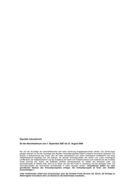Vontobel Fund Vontobel Fund - Samuel Begasse