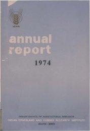 IGFRI Annual Report 1974 - Indian Grassland and Fodder Research ...