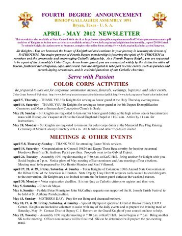 2012 04 4th Degree ANNOUNCEMENT Apr May - Texas Knights of ...