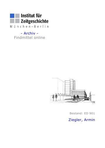 - Archiv - Findmittel online Ziegler, Armin - Institut für Zeitgeschichte