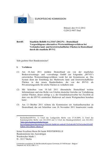 Seiner Exzellenz Herrn Dr Guido WESTERWELLE ... - Europa