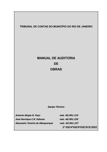 MANUAL DE AUDITORIA DE OBRAS - Tribunal de Contas do ...