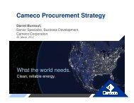 Cameco Procurement Strategy Darrel Burnouf