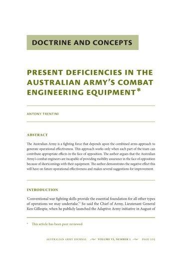 Present Deficiencies in the Australian Armys Combat Engineering ...