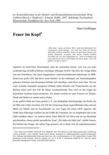 Feuer im Kopf - story dealer berlin