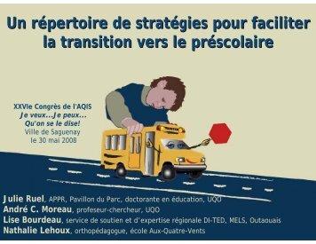 Un répertoire de stratégies pour faciliter la transition vers le ...