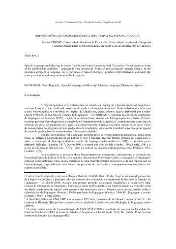 repercussões da neurolingüística discursiva na ... - Celsul.org.br