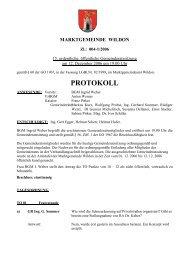 Protokoll der 15. Gemeinderatssitzung - Marktgemeinde Wildon