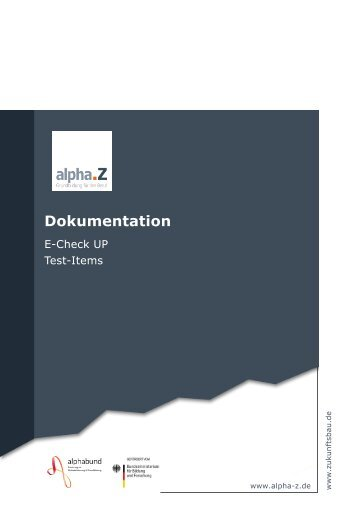 AlphaZ E-CheckUP Dokumentation Test Items
